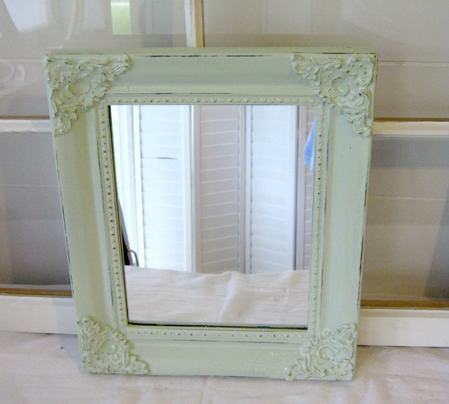 Shabby Chic Antique Mint Ornate Wall Mirror Square Wood Frame Home Decor Paris Apt Romatic Cottage Style