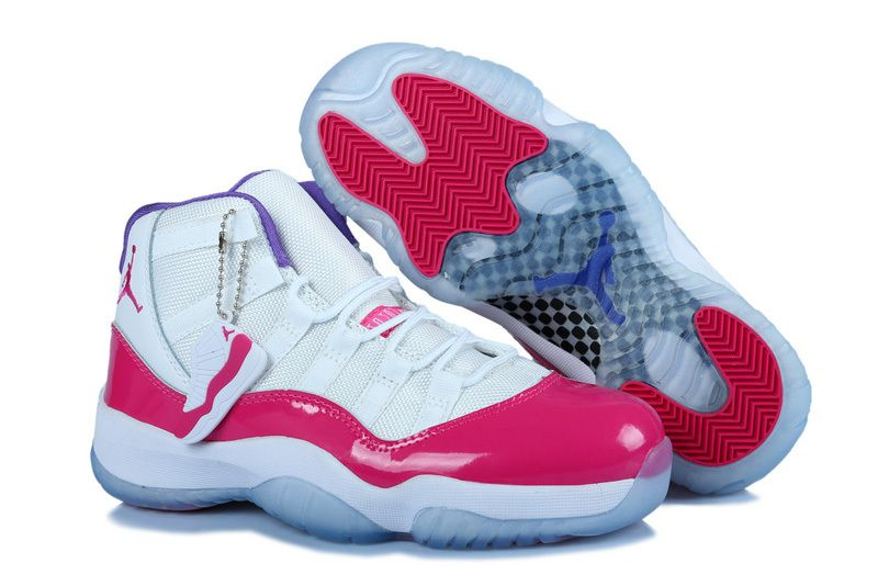 Girls Nike Air Jordan 11 GS White Pink Purple Womens Size
