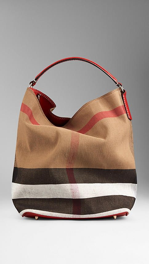 3383ae7fa50f Burberry Cadmium Red Medium Canvas Check Hobo Bag - Jute cotton hobo bag in Canvas  check with a leather base. Open top with metal clip fastening.