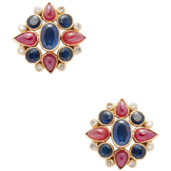 Amrapali Women's 18K Yellow Gold, Ruby, Blue Sapphire & 0.33 Total Ct. ($1,450) ❤ liked on Polyvore featuring jewelry, earrings, multi, gold earrings, 18 karat gold earrings, gold ruby earrings, stud earrings and gold diamond earrings