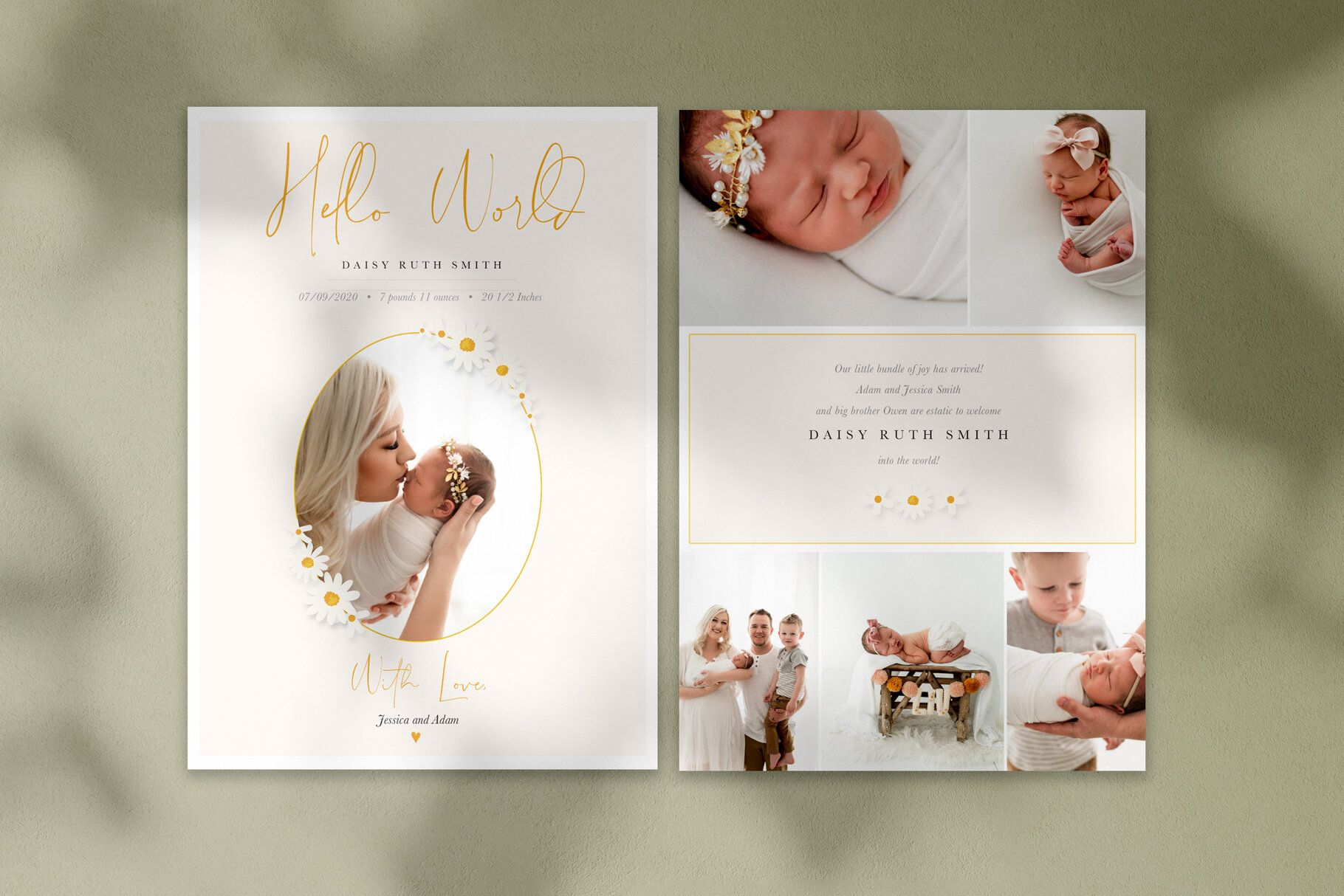 Photoshop Templates For Photographers This Sweet Birth Announcement Features Da Photoshop Template Design Photo Card Template Photography Marketing Templates