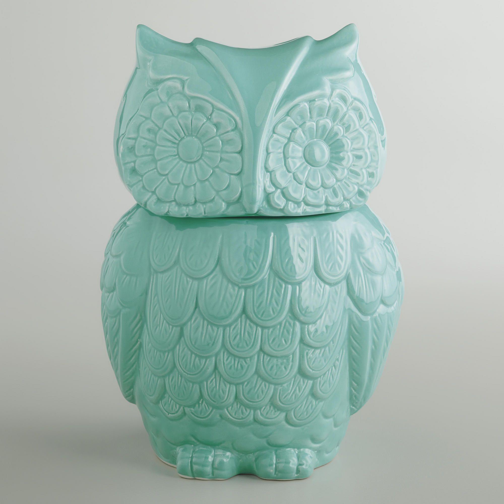 Aqua Owl Cookie Jar