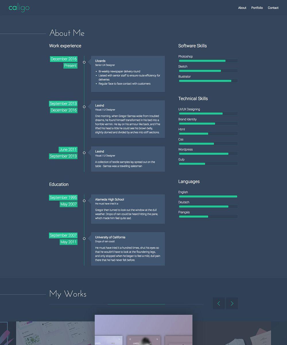 Caligo Portfolio Resume Cv Website Template 65417 Website