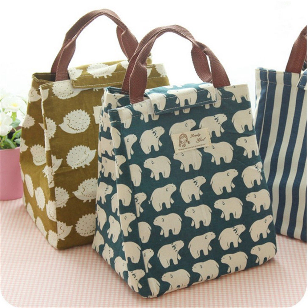 1c641f006ea9 $2.65 - Cute Animal Portable Insulated Canvas Cooler Picnic Lunch ...