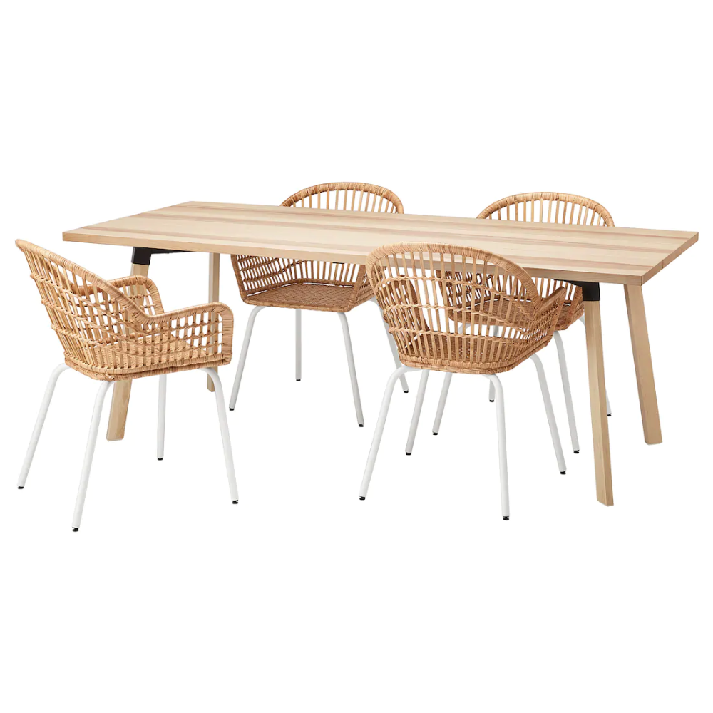 Ypperlig Nilsove Table And 4 Chairs Ash Rattan White Ikea In 2020 Rattan Ikea Ypperlig Dining Room Sets