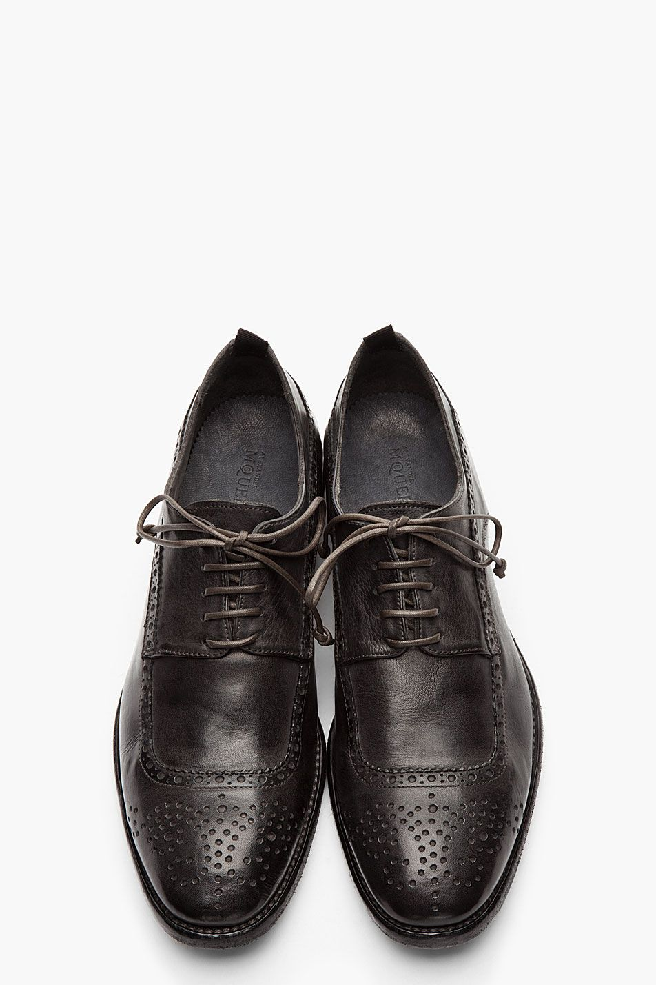 ALEXANDER MCQUEEN Black Texas Dyed longwing brogues