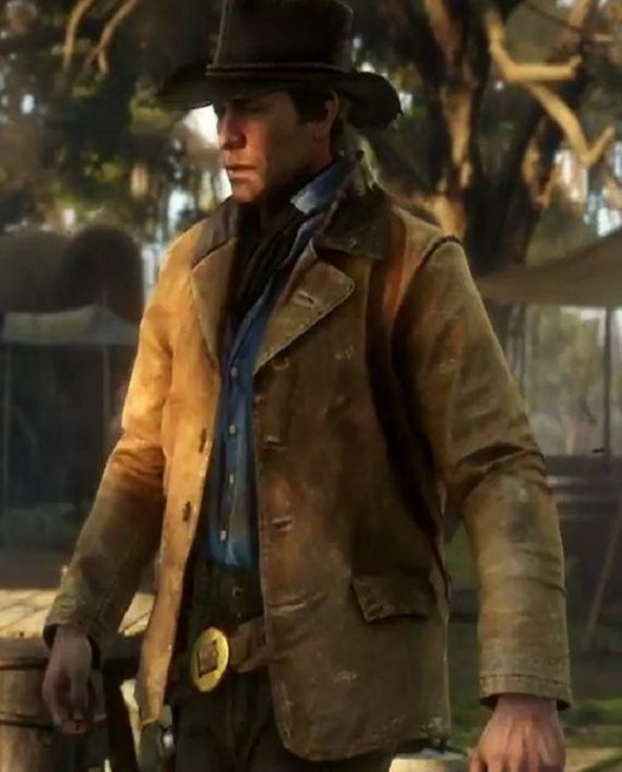 MENS MID LENGTH REAL LEATHER COAT RED DEAD REDEMPTION II ARTHUR MORGAN JACKET