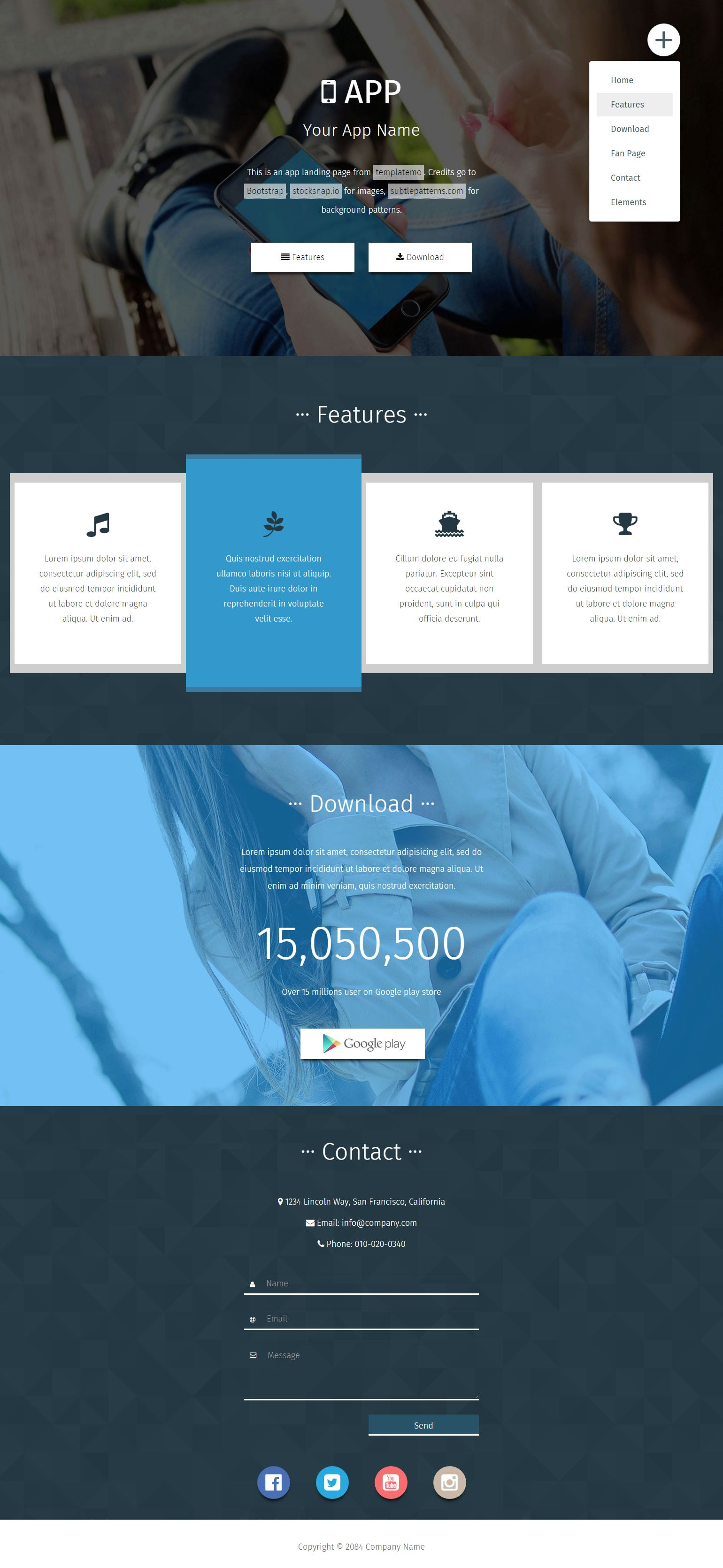 App Landing Page Includes Feature Download And Contact Sections Bootstrap V3 3 1 Theme Css Templates Css Website Templates Html And Css Templates