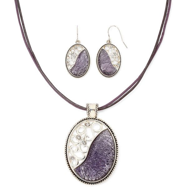 Mixit™ Silver-Tone and Purple Enamel Earring and Pendant Necklace Set ($14) ❤ liked on Polyvore featuring jewelry, purple jewelry, pendant jewelry, silver tone jewelry, enamel jewelry and long necklace pendant