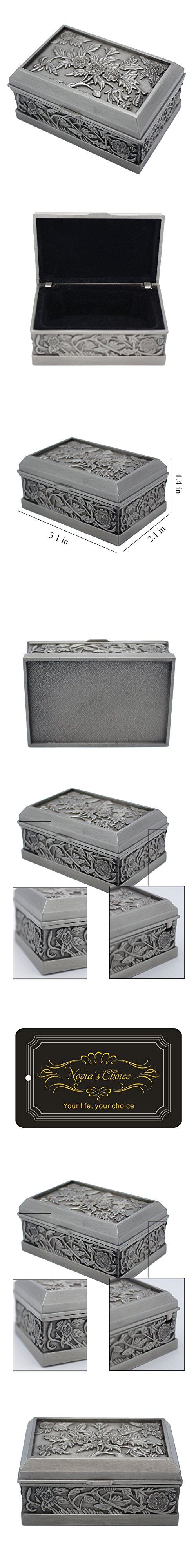 Novias Vintage Antique Flower Engraved Decorative Jewelry Box Ring