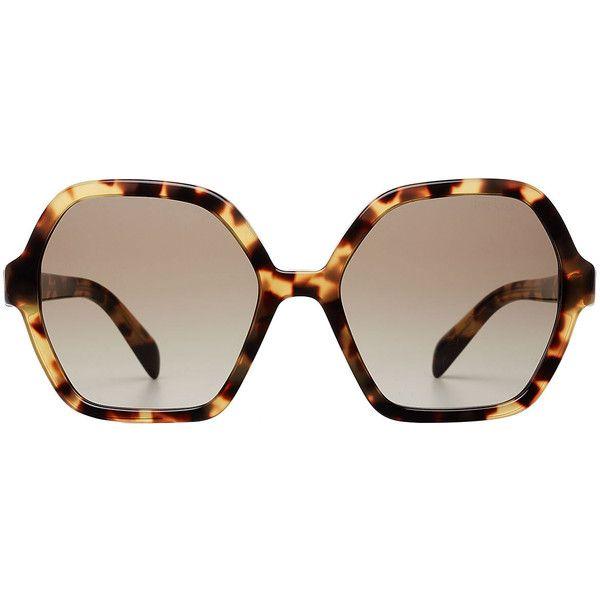 24bfb9108e1 Prada Oversize Tortoiseshell Sunglasses ( 205) ❤ liked on Polyvore  featuring accessories