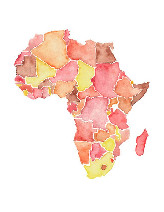 5x7 or 8.5x11   Africa Love / Watercolor Map Print / Wedding Gift