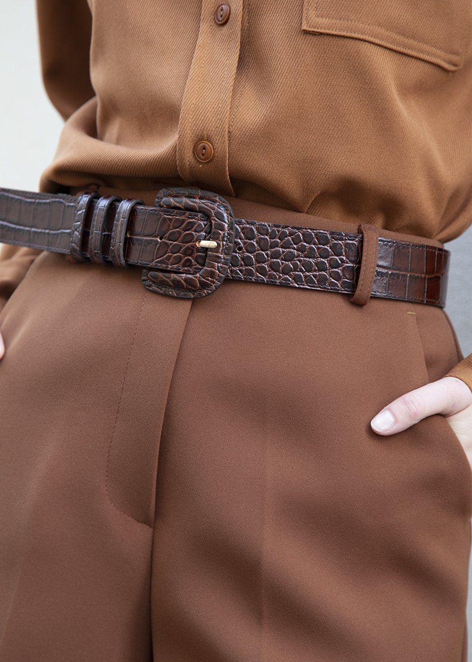 Vintage Faux Leather Belt Buckle,Light Brown Floral Embossed Pattern Belt,Vintage Gift for Her