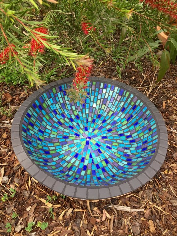 Mosaic Bird Bath Birdbath Unique Garden Art