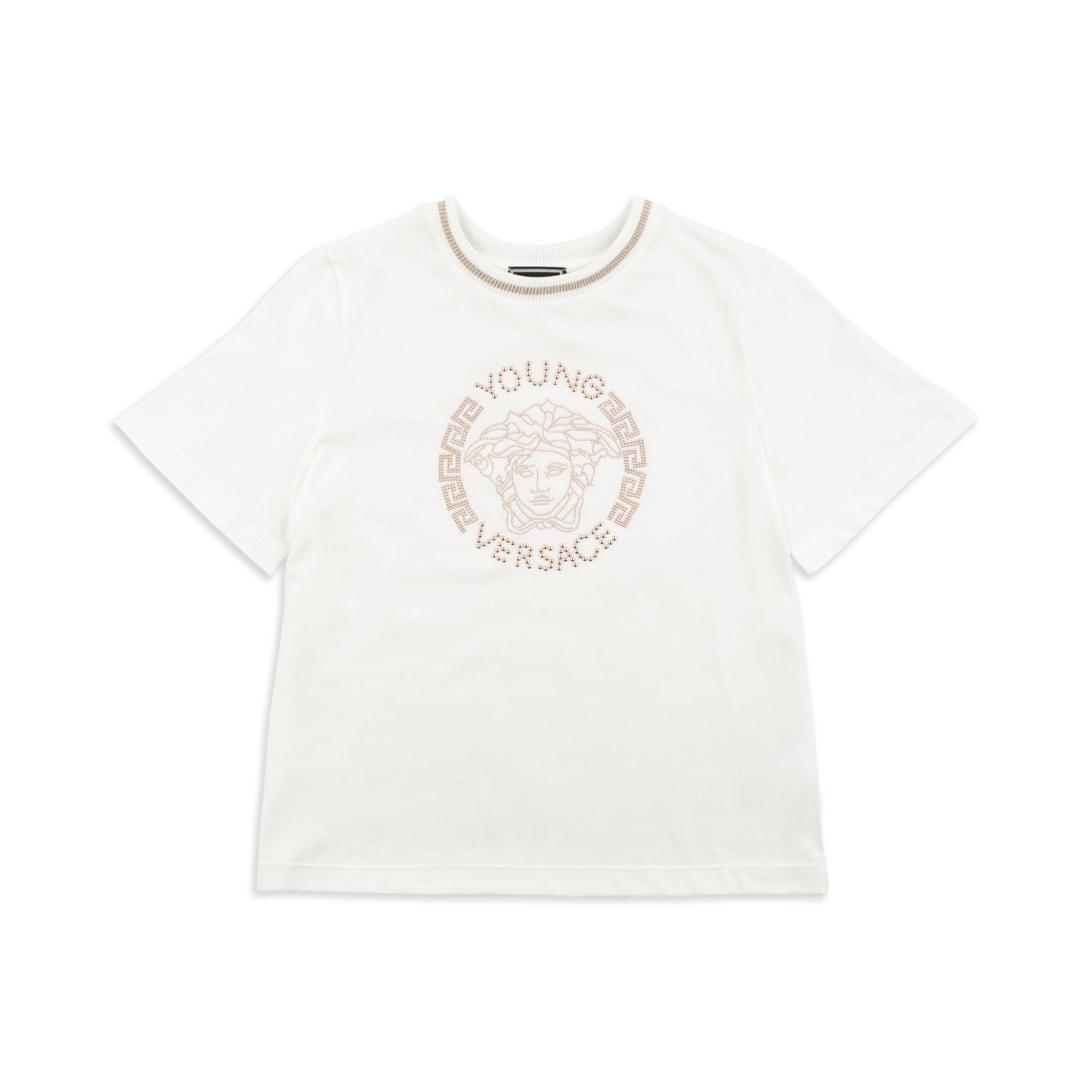 0f2e452b2887 YOUNG VERSACE Girls Cropped Medusa Head T-Shirt - White Girls short sleeve  t-shirt • Soft cotton jersey • Round neckline • Cropped design • Studded  Medusa ...