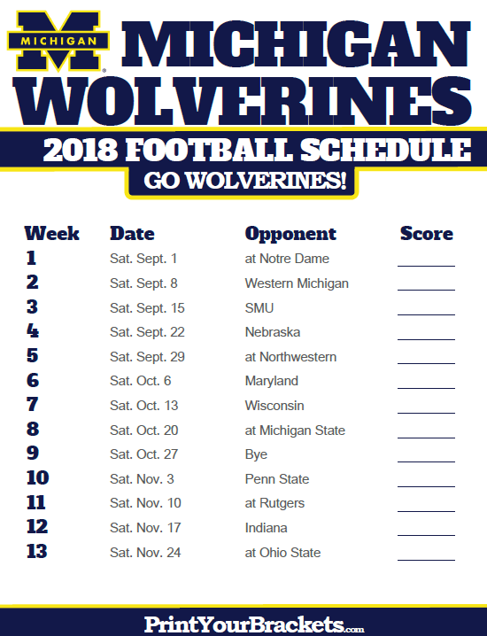 2018 Printable Michigan Wolverines Football Schedule Michigan Wolverines Football Schedule Michigan Wolverines Football Michigan Wolverines
