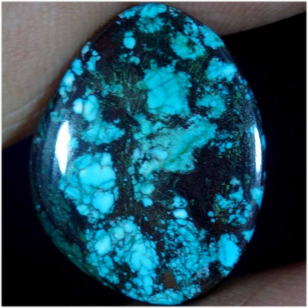 10.95Cts. Luscious TIBET TURQUOISE FANCY CABOCHON TREATED LOOSE GEMSTONE 2016 #Handmade