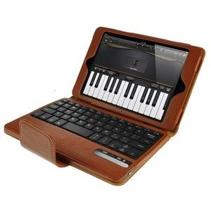 Wireless Bluetooth Keyboard Case With Built-in Stand For iPad Mini ( Brown)