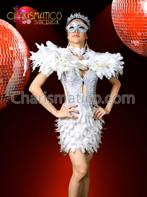 5e328ea37 Charismatico Dancewear Store - White swan Showgirl SEQUIN sexy feather dress  feather Collar, $280.00 (