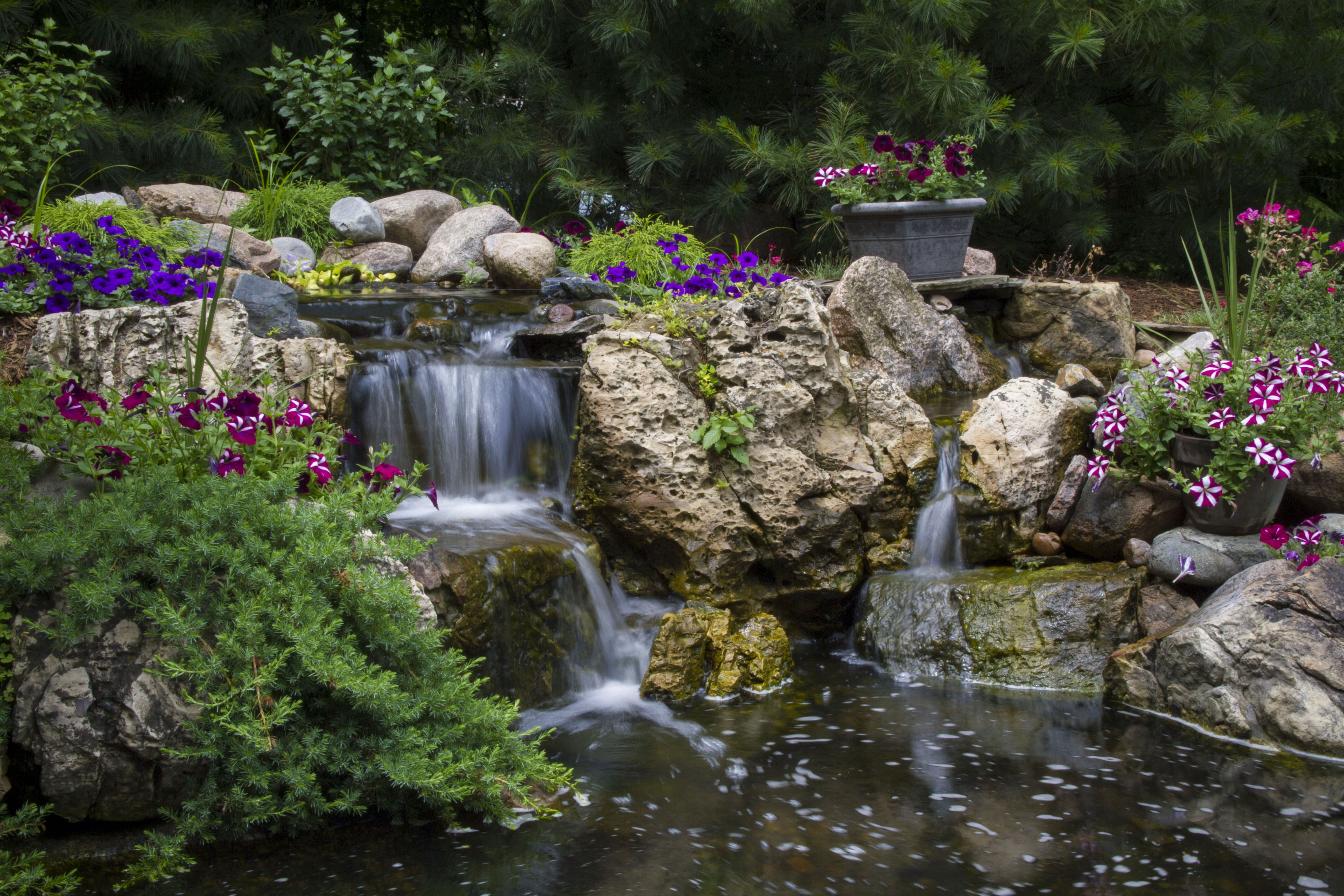 Waterfall created by Aquascape Inc in St Charles IL