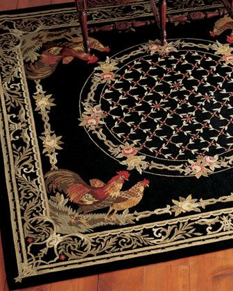 Rooster bijoux rug at horchow i have had this for years for Country style kitchen rugs