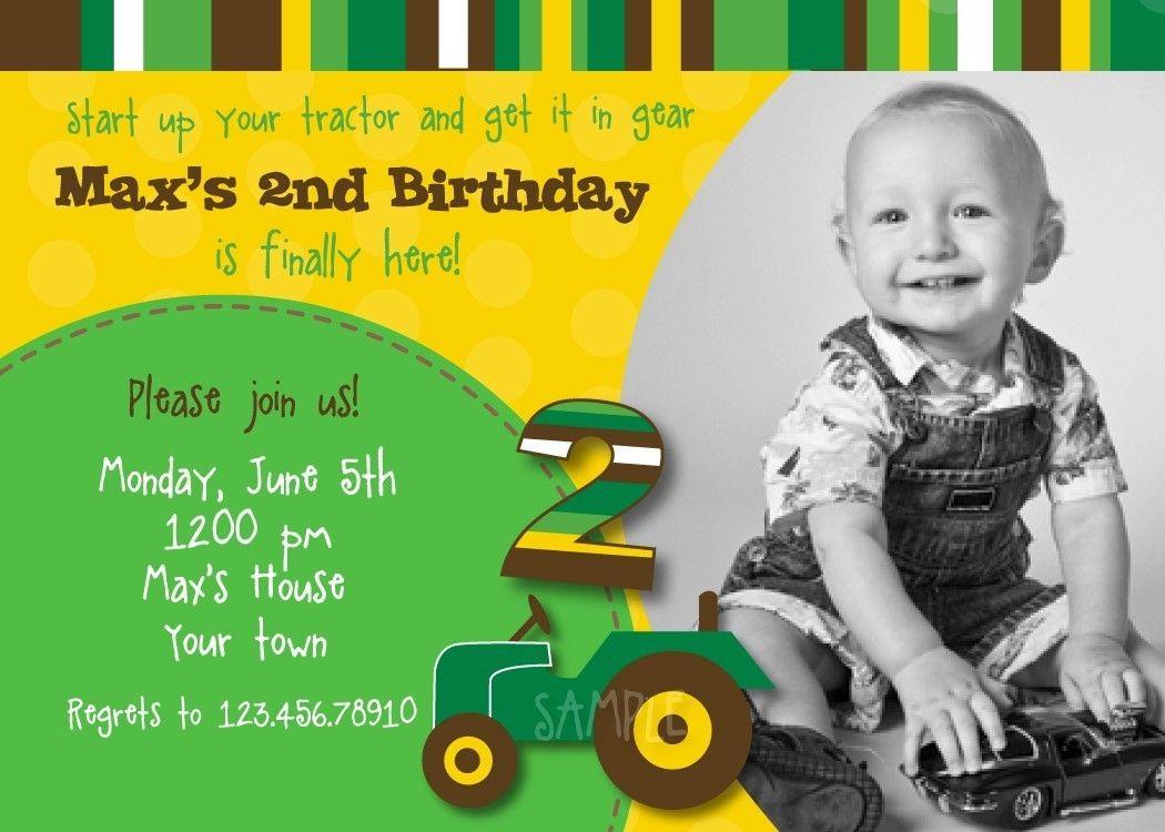 Tractor John Deere Custom Birthday Party Invitations Birthday - John deere 2nd birthday party invitations