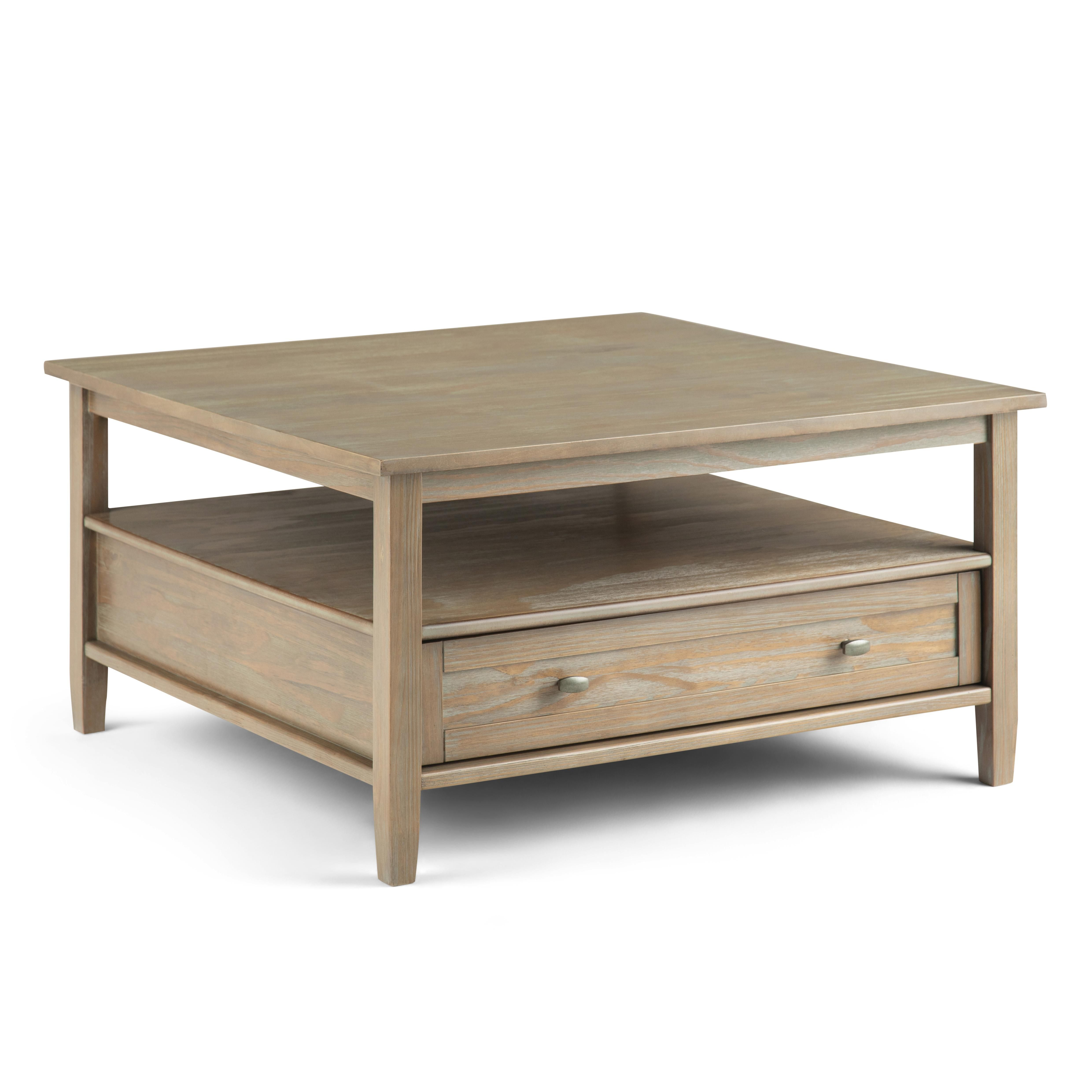 Warm Shaker Solid Wood 36 Inch Wide Square Square Coffee Table In
