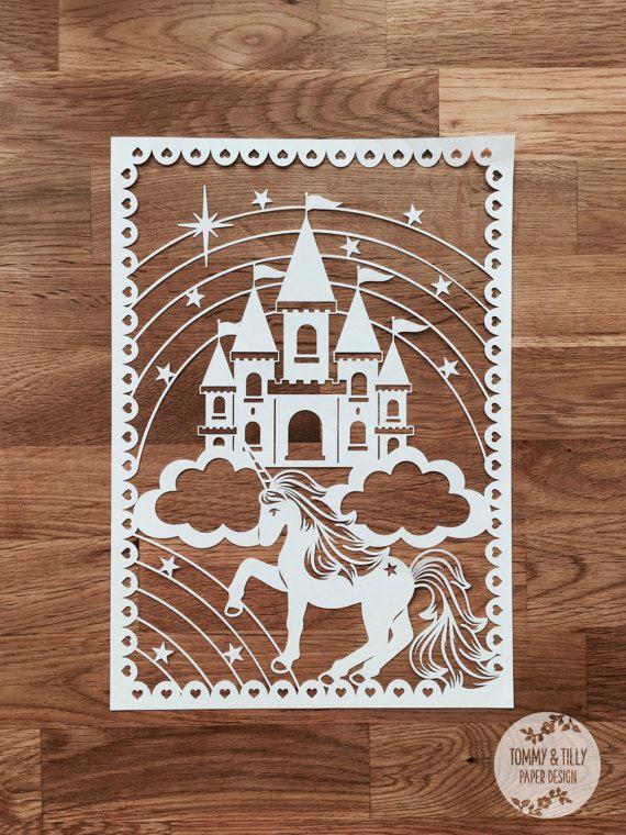 Unicorn Castle SVG / PDF Design - Papercutting Vinyl Template ...