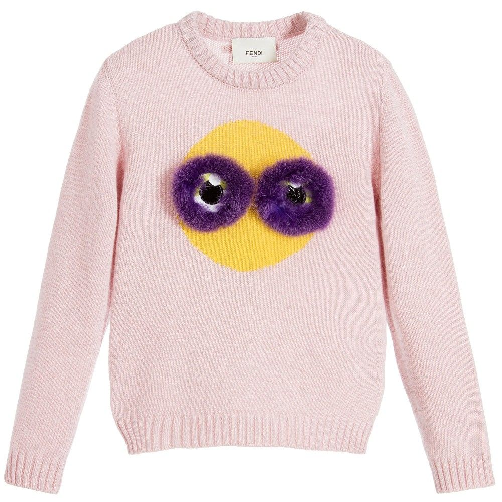 Fendi - Girls Pink Sweater with Fur Eyes | | #TOPS #JUMPERS #KIDS ...
