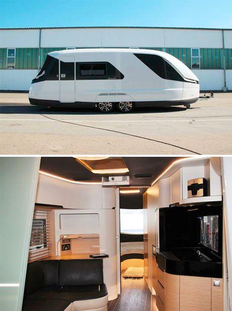 Streamlined Futuristic Luxury Camper Luxury Campers Diy Caravan Camper Trailer Tent