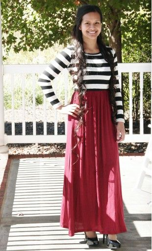 Womens color block knit maxi dress with an trendy striped top and a modest high waist solid color skirt available in S-L in Burgundy, Navy, Taupe