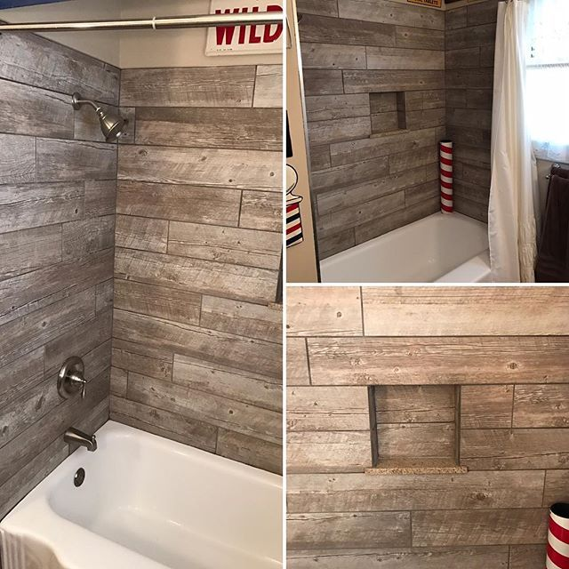 custom wood looking tile tub surround farmhouse style pinterest