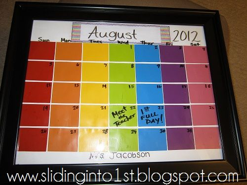 dry erase calendar made from paint card samples  a frame so easy - Sample Cards