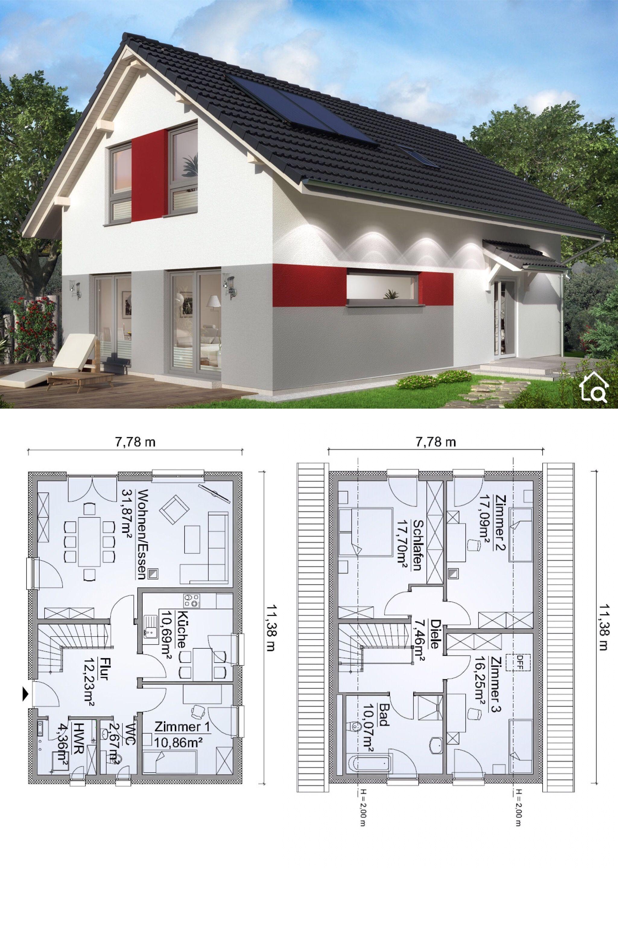 Fertighaus Stadtvilla modern mit Walmdach Architektur, 5