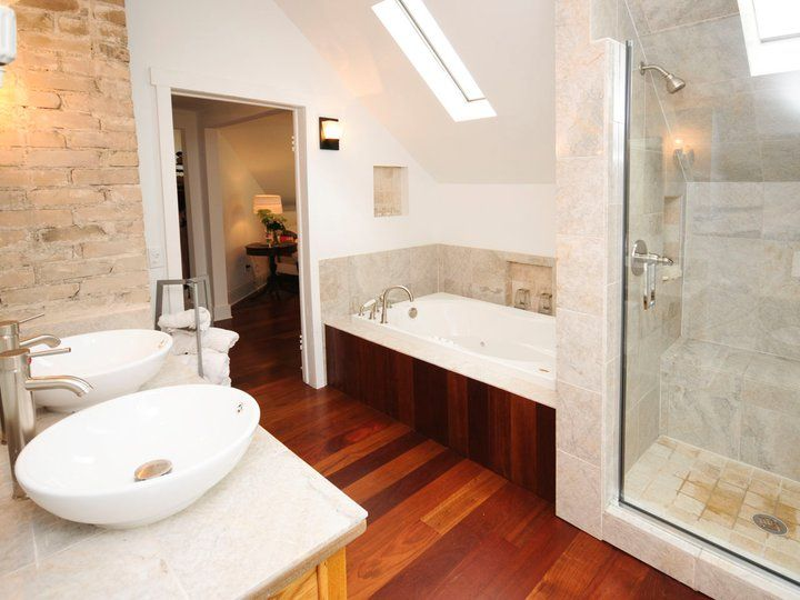 I'm obsessed with the brick next to the sink. Nicole Curtis Rehab Addict -Colfax- #bathroom #interior #design