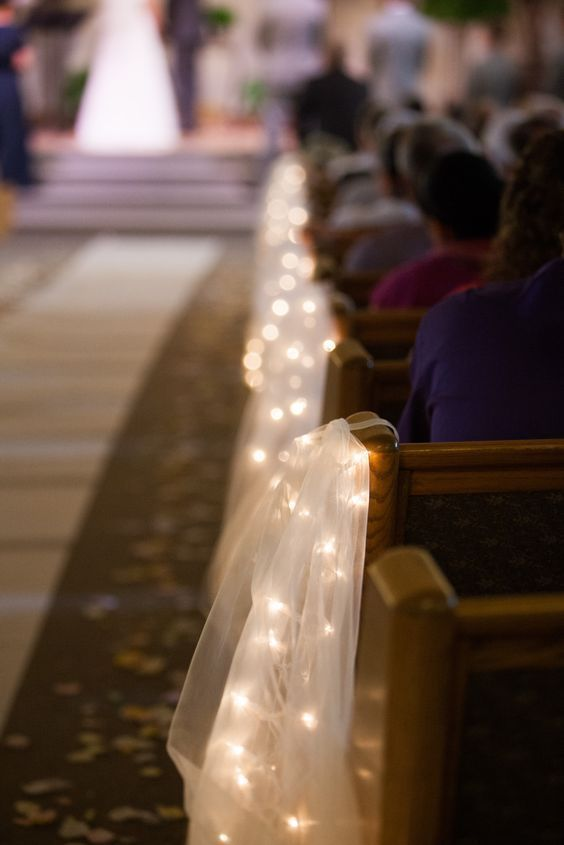 Image result for diy church pew decorations church decorations tulle and string lights aisle decorations simplistic junglespirit Image collections