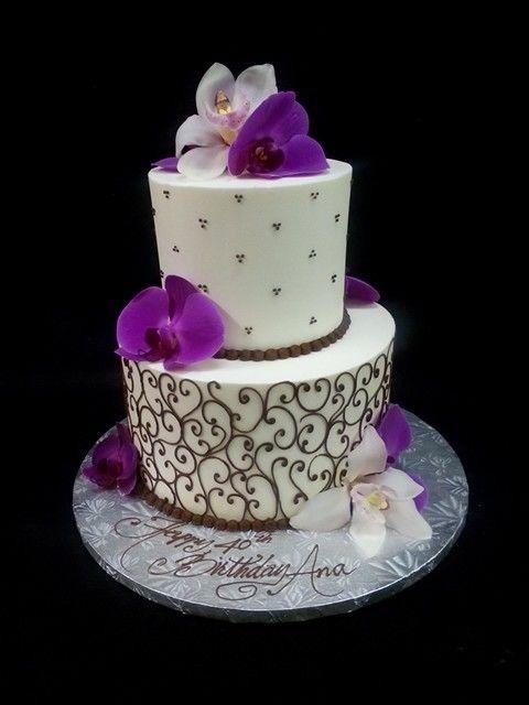 Two Tiered Birthday Cake Akis Bakery San Jose Ca Decorator Sharon