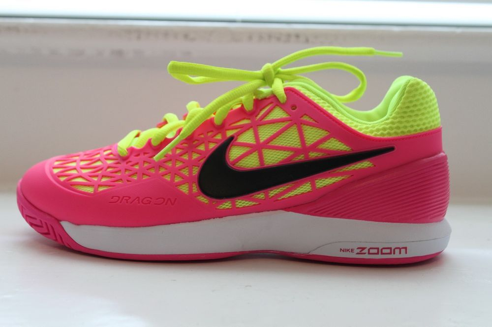 Nike Women's Zoom Cage 2 Tennis Court Shoes Pink Yellow MSRP 140