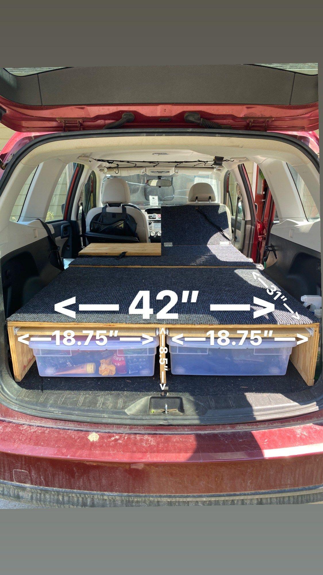 Suv Camper Conversion With Sleeping Platform Subaru Forester Bonjour Becky Suv Camper Subaru Forester Suv Camping