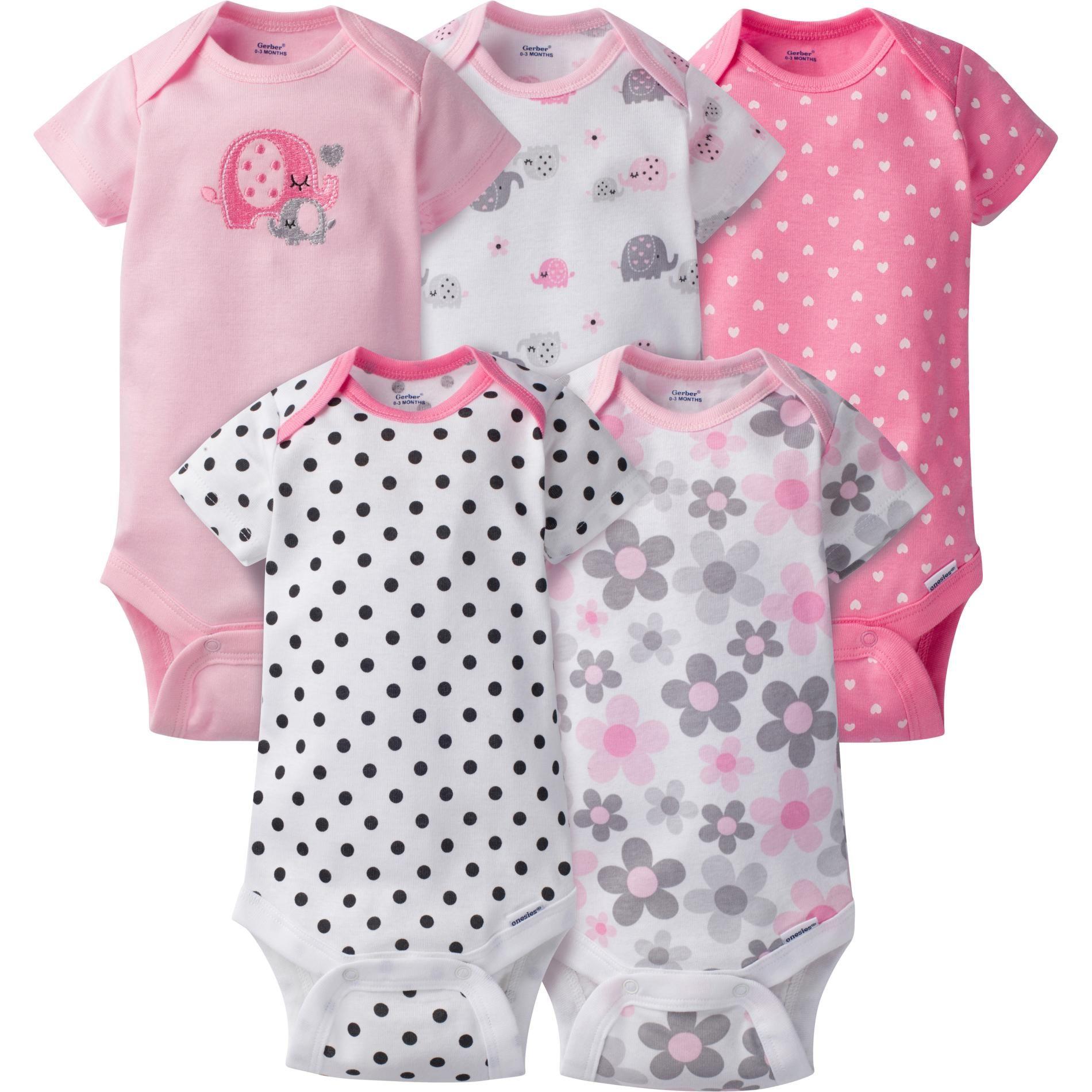 Gerber Newborn Girl s 5 Pack Bodysuits Elephants Size 6 9 Months