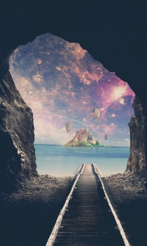 480x800 Wallpaper Tunnel Space Road Cave Minimal Wallpaper