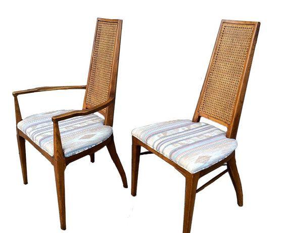 5 Dining Chairs Cane Back Danish Modern Walnut By Offcentermodern Midcentury Modern Dining Chairs Modern Dining Chairs Mid Century Modern Dining