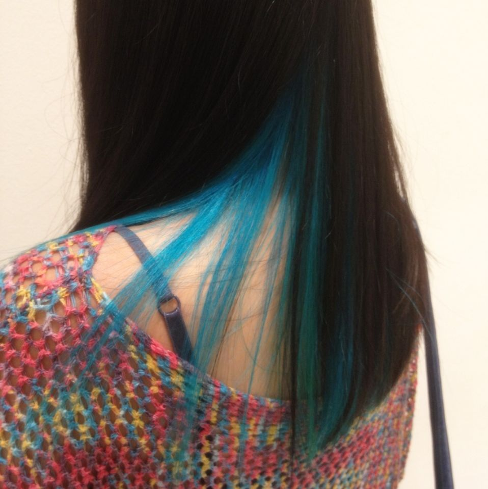 Turquoise highlights by ryo from cleo hair make for Salon turquoise