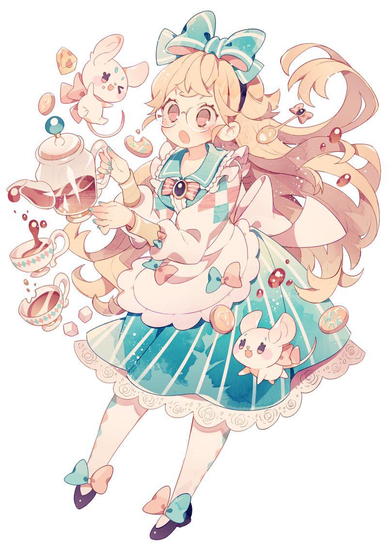 アリスのお茶会 アニメイラスト カワイイアート アニメの女の子猫