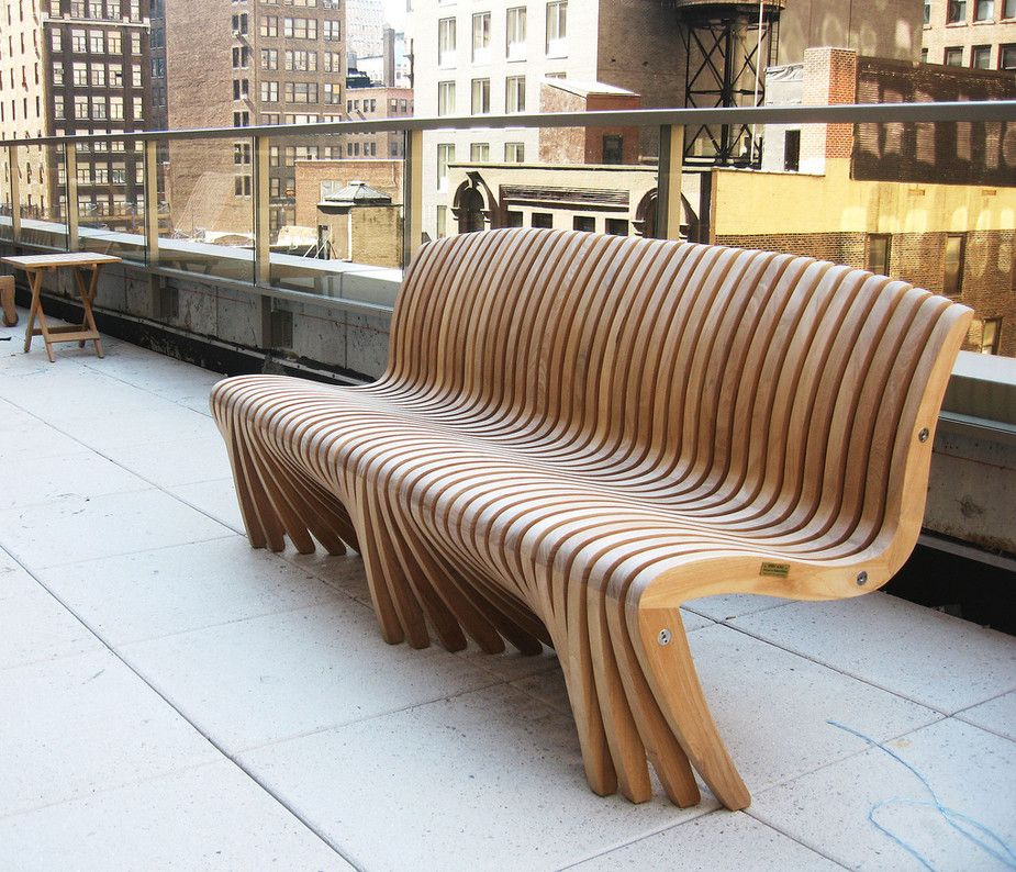 Unique Outdoor Chairs: Curved Outdoor Bench With Back