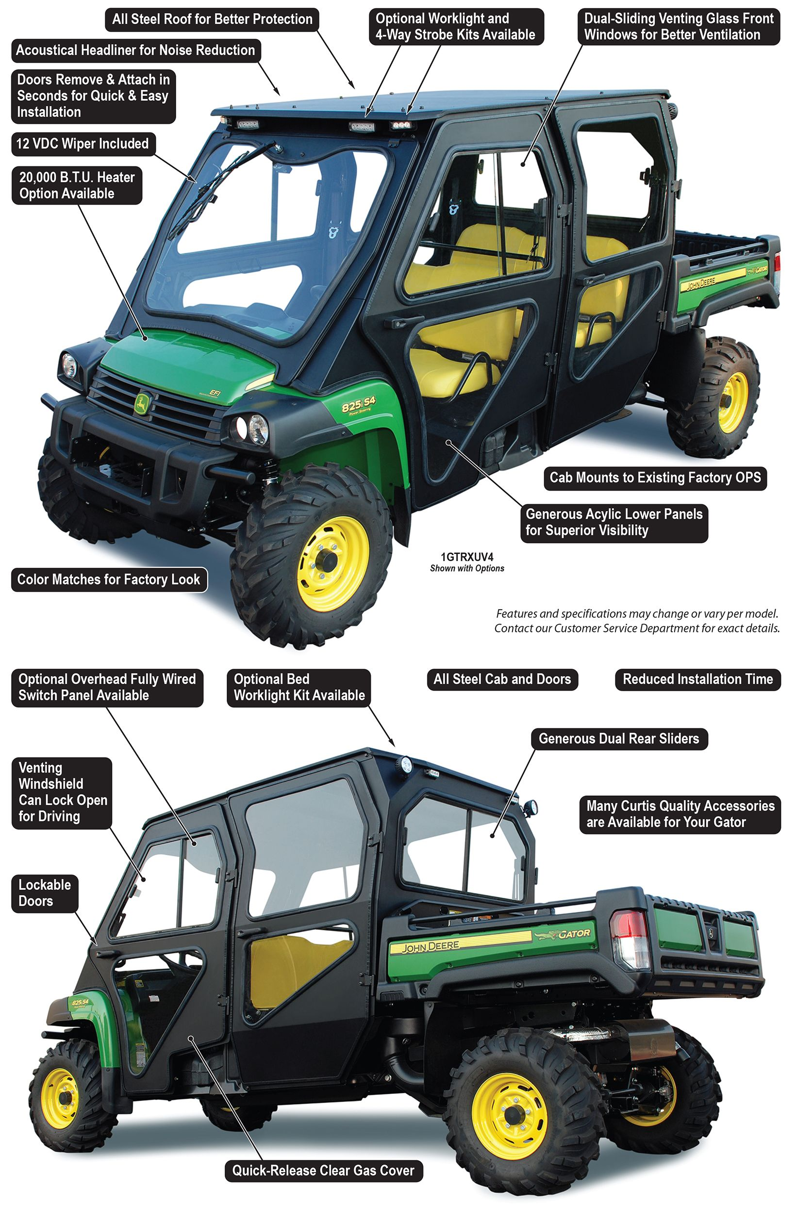 new john deere gator xuv 825i s4 all steel cab curtis. Black Bedroom Furniture Sets. Home Design Ideas