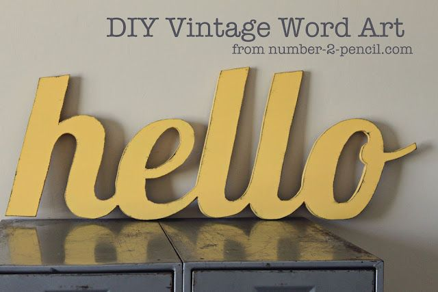 DIY vintage style wood word art, just trace the word onto MDF or wood and cut it out with a jigsaw