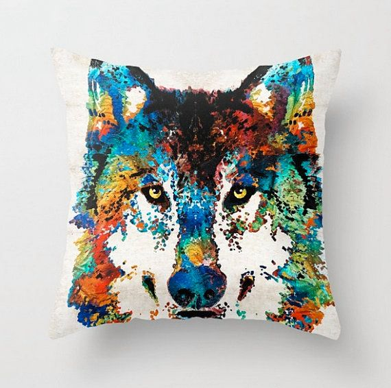 Throw Pillow COVER Wolf Art Design Home Sofa Bed Chair Decor Artsy