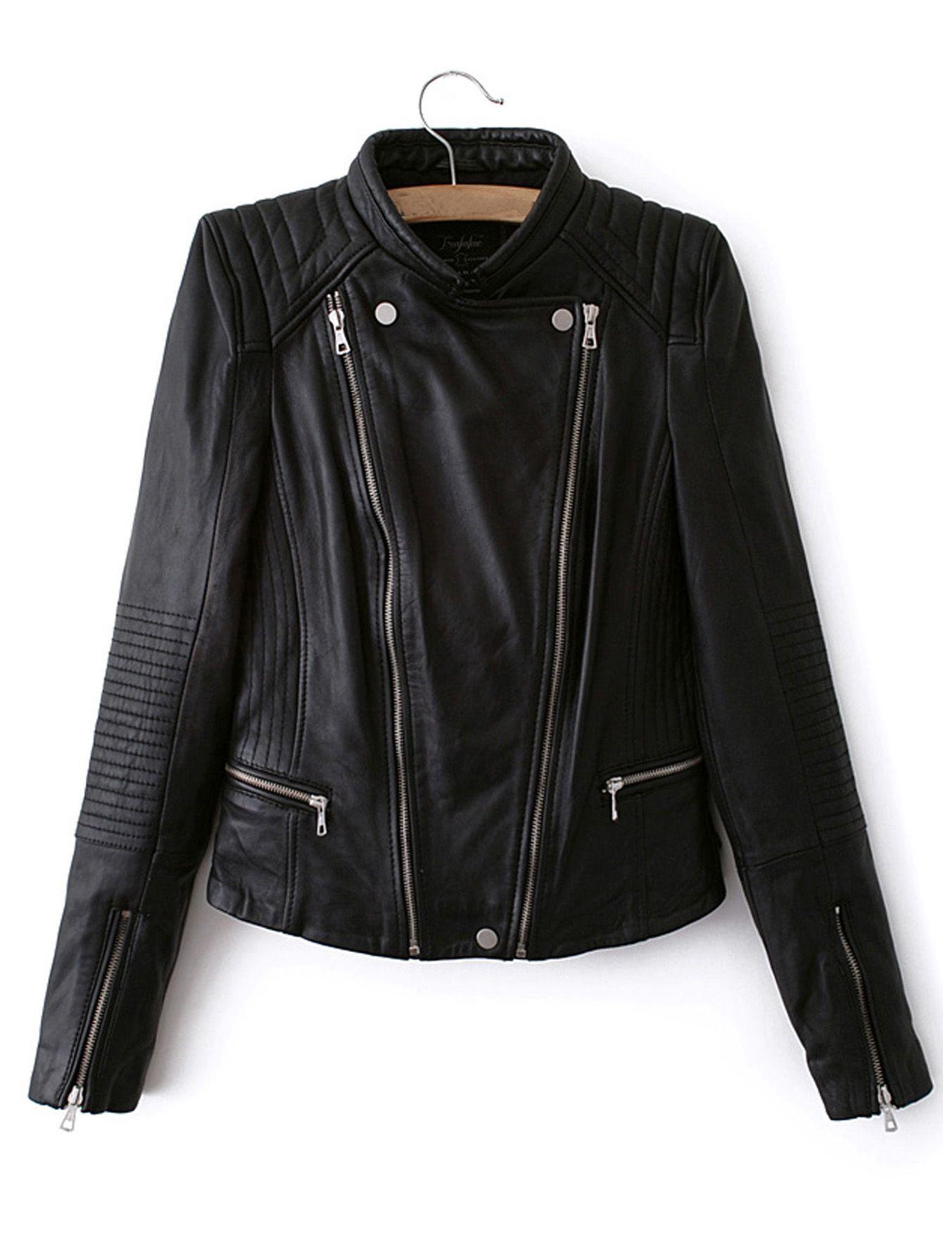 Shop Black Long Sleeve Zipper PU Crop Jacket online. SheIn
