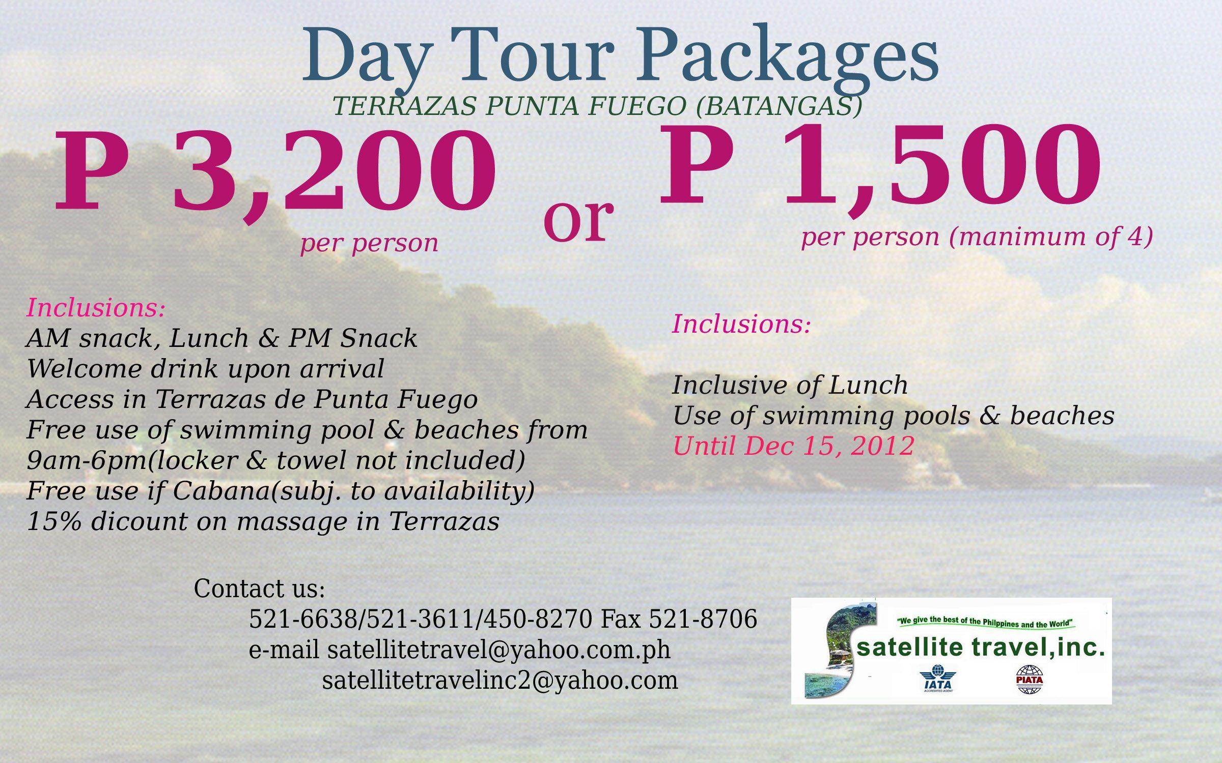 Day Tour Package Terrazas Punta Fuego Batangas Day Tours